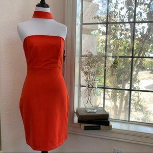 Lulus Red Orange bodycon strapless choker dress